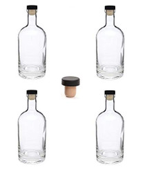 Nordic Bottles - 4 Pack - 375ml (12oz.) Bottles with Dark Wood Bar Top Cork Caps
