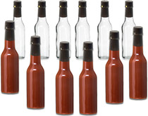 5 oz, Glass Woozy Hot Sauce Bottles - Case of 12 with Screw Caps, Inserts & Shrink Capsules