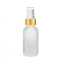 2 oz Frosted Glass Bottle w/ Matte Gold and White Fine Mist Sprayer