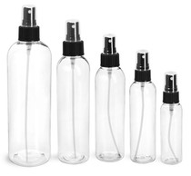 4 oz CLEAR PET Cosmo Bottle with 20-410 mm neck finish w/ Black Fine Sprayer with 20mm neck finish