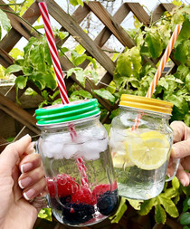 4 Pack x 16 oz Mason Jar Mugs with Handles, Lids, Reusable Straws with Fruit Patterned Stainless Steel Lids and Straws