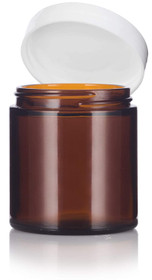 4 oz Amber GLASS Jar Straight Sided w/ White Plastic Lined Cap - pack of 210