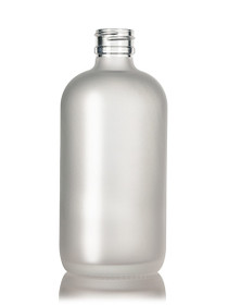 8 Oz Frosted Glass Bottle 24-400  w/ Ribbed 24-410 White Fine Mist Sprayer - Case of 72