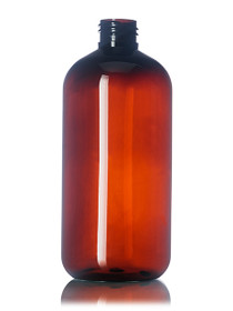 12 oz amber PET boston round bottle with 24-410 neck finish With White Fine Mist Sprayers - Case of 252