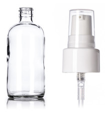 8 oz clear glass boston round bottle with 24-400 neck finish with White Treatment Lotion Pump - Set of 72