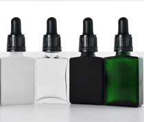 1 oz Green SQUARE Glass Bottle w/ 18-415 Black Tamper Evident Calibrated Dropper- Case of 110