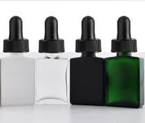 1 oz Green SQUARE Glass Bottle w/ 18-415 Black Regular Calibrated Dropper- Case of 110