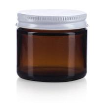 2 oz Amber Glass Jar w/ White Metal Lid- Case of 168