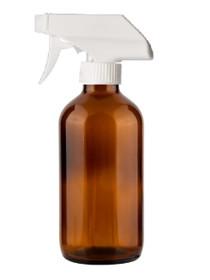 8 oz AMBER Glass Bottle - w/ White Trigger Sprayer