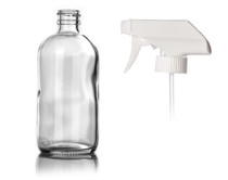 8 oz CLEAR glass bottle with 28-400 neck finish w/ White Trigger Sprayer