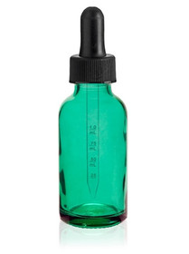 2 oz Caribbean Green Glass Bottle w/ Black Calibrated Glass Dropper