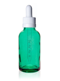 2 oz Caribbean Green Glass Bottle w/ White Child Resistant Calibrated Dropper