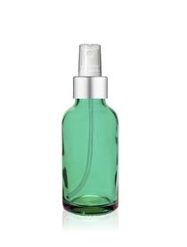 2 oz Caribbean Glass Bottle w/ Matte Silver and White Fine Mist Sprayer