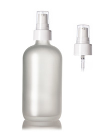 8 Oz Frosted Glass Bottle 24-400 w/ Ribbed 24-410 White Treatment Pump - Case of 96