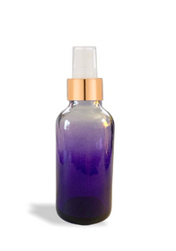 1 oz purple-shaded clear glass bottle with 20-400 neck finish w/ White-Gold Fine Mist Sprayer - Case of 288