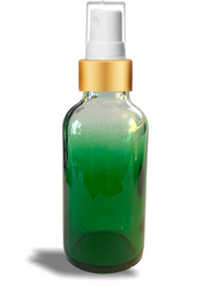 1 oz Green-shaded clear glass bottle w/ White-Gold Fine Mist Sprayer - Case of 180