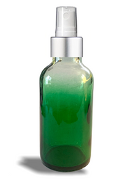 1 oz Green-shaded clear glass bottle w/ White-Silver Fine Mist Sprayer - Case of 180