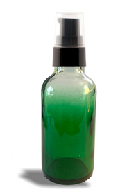 1 oz Green-shaded clear glass bottle w/ Black Treatment Pump - Case of 180