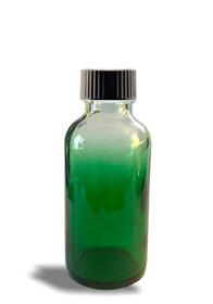 1 oz Green-shaded clear glass bottle w/ Black Poly Cone Cap -Case of 180