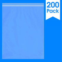 "200 Count - 12 X 15"" - 2 Mil Clear Plastic Reclosable Zip Poly Bags with Resealable Lock Seal Zipper"