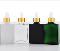 1 oz White SQUARE Glass Bottle w/ 18-415 White/Gold Regular Dropper- Case of 110