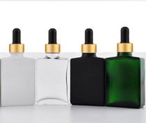 1 oz Green SQUARE Glass Bottle w/ 18-415 Black-Gold Regular Dropper- Case of 110