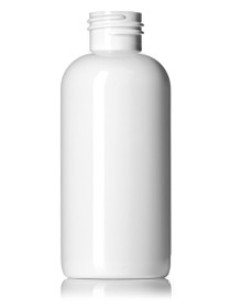 4 oz White PET boston round bottle with 24-410 neck finish