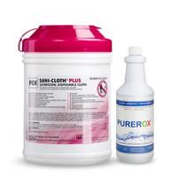 PDI Sani-Cloth Plus Germicidal Wipes (Pack of 160) + 32 oz Purerox Disinfectant Spray