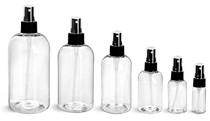 1 oz Clear PET Boston Round Plastic Bottle - w/ Black Fine Mist Sprayer