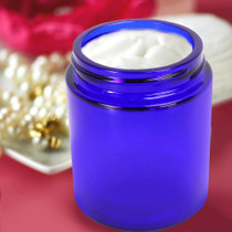 12 Pack 120 ml 4 oz Blue Glass Jars with Black Lids & Inner Liners,Round Jars for Cosmetics and Face cream Lotion.