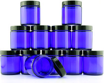 4-Ounce Cobalt Blue Glass Straight Sided Cosmetic Jars (12-Pack); 120 ml. Capacity, BPA-Free Lids