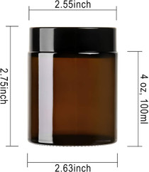 12Pack of 4 oz Amber Round Glass Jars, with Inner Liners and black Lids,Empty Cosmetic Containers,Cream jars