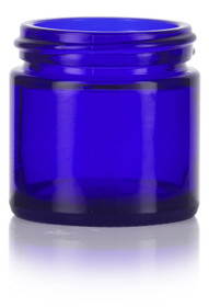 (Case of 160) 1 oz Cobalt Blue GLASS Jar Straight Sided w/ White Plastic Lined Cap