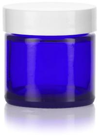 1 oz Cobalt Blue GLASS Jar Straight Sided w/ White Plastic Lined Cap