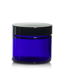 (Case of 160) 1 oz Cobalt Blue GLASS Jar Straight Sided w/ Black Plastic Lined Cap
