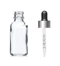 2 Oz Clear Glass Bottle w/ Black Matte Silver Calibrated Glass Dropper