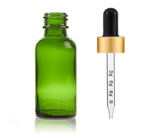 2 Oz Green Glass Bottle w/ Black Matte Gold Calibrated Glass Dropper