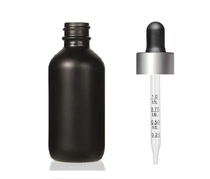 2 Oz Matte Black Glass Bottle w/ Black Matte Silver Calibrated Glass Dropper