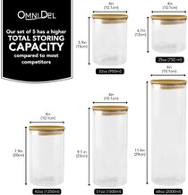 Omni Del Glass Canisters set of 5, Canisters Sets For The Kitchen, Airtight Glass Container with Bamboo Lid, Glass Storage Jars, Kitchen Storage Containers Set for Flour, Sugar, Coffee and More