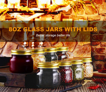 Mason Jars 8 OZ- Small Mason Jars With Gold Lids -1/4 Quart Canning Jars| Storage Pickling Jars For Jelly, Jam, Honey, Pickles - Spice Glass Jars - Set of 30 With Free 30 Chalkboard Labels