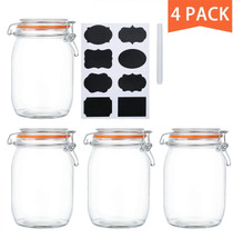 32 oz Glass Jars With Airtight Lids And Leak Proof Rubber Gasket,Wide Mouth Mason Jars With Hinged Lids For Kitchen Canisters 1000ml, Glass Storage Containers 4 Pack