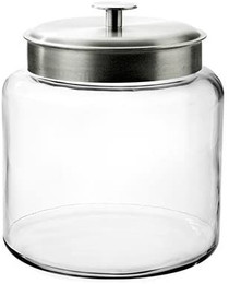1.5-Gallon Montana Glass Jar with Fresh Seal Lid, Brushed Metal, Set of 1