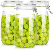 3 Pack 50 oz Clear Glass Jars with Airtight Seal Lids, Wide Mouth Storage Canister Jars for Food