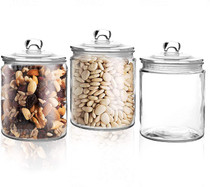 Set of 3 Glass Jar with Lid (1 Liter) | Airtight Glass Storage Container for Food, Flour, Pasta, Coffee, Candy, Dog Treats, Snacks | Glass Organization Canisters for Home & Kitchen | 34 Ounces