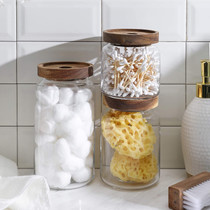 3pcs Clear Glass Food Storage Jar/Cotton Container With Airtight Seal Acacia Wood Lids for Kitchen/Bathroom Serving Candy, Snack, Honey, Leaf Tea, Coffee Bean, Dry food