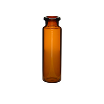 Crimp Top 20mm Amber Type 1 Glass 20mL Headspace Autosampler Vials w/ Flat Bottom - Pack of 100