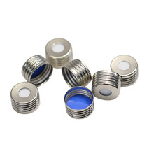 Magnetic Screw Top 18mm Silver Aluminum Vial Cap with Blue PTFE/White Silicone Septa - Pack of 200