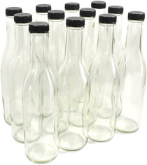 Clear Glass Woozy Bottles with Dispensing Caps, 12 Oz - Case of 12
