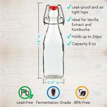 Set of 6-8.5oz Swing Top Glass Bottles - Flip Top Brewing Bottles For Kombucha