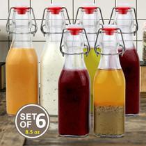 Set of 6-8.5oz Swing Top Glass Bottles - Flip Top Brewing Bottles For Kombucha, Kefir, Vanilla Extract, Beer - Airtight Caps and Leak Proof Lids